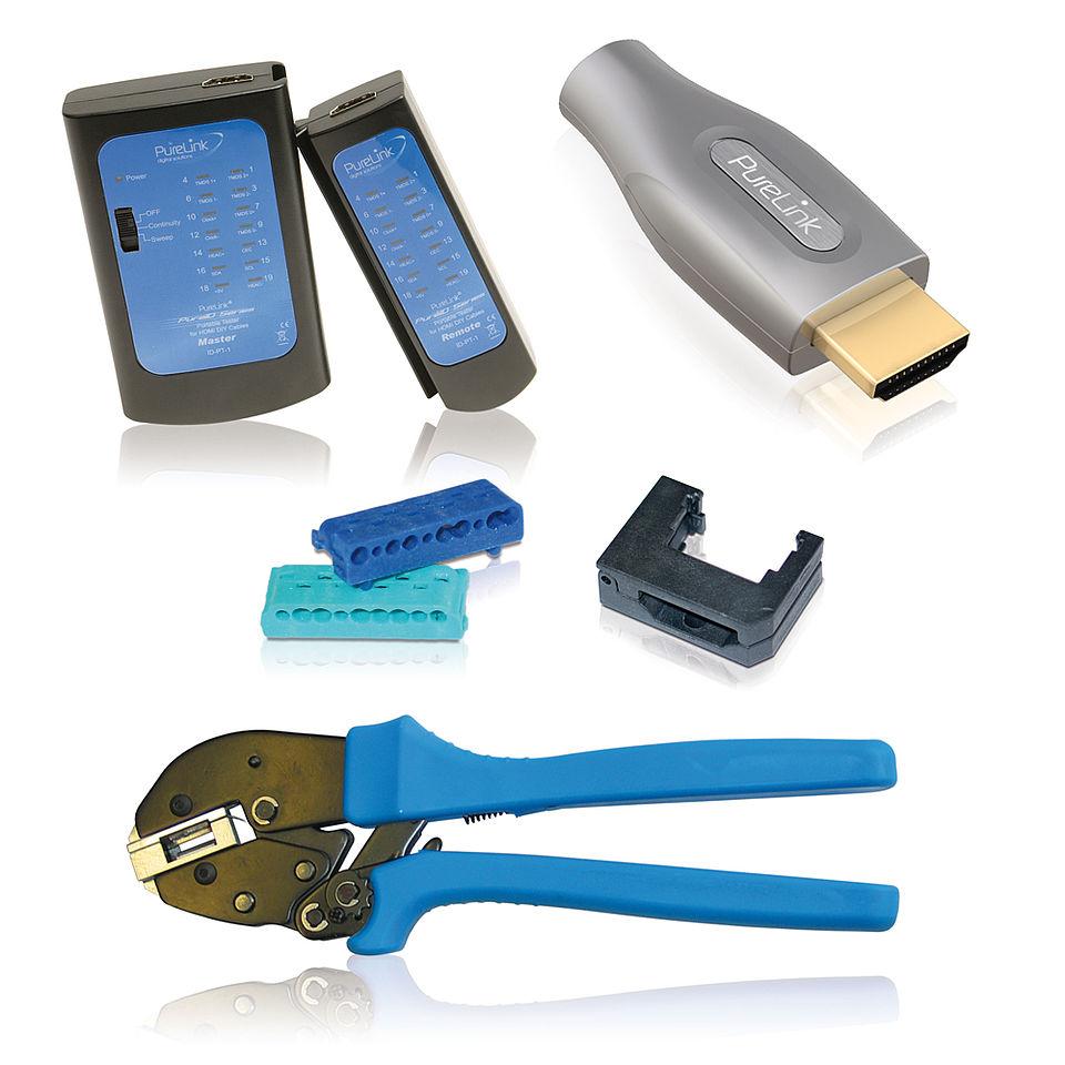 Das PureID ID-Starter Starterset für 10 HDMI DIY Kabel mit Kombiwerkzeug, Kabeltester, Kompressionsführung und 10 HDMI DIY Steckern